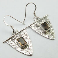 "925 Pure Sterling Silver Brown Smoky Quartz Pierced Earrings 1.5"" New Jewelry"