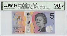 Australia 2016 P-62a PMG Seventy Gem UNC 70 EPQ * 5 Dollars *Polymer*