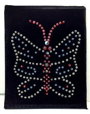 Vtg 8x10 folk art  Pinned Faceted Bead black velvet Butterfly Picture 60's 70's