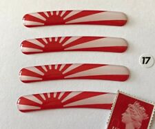 "4 x Japan Rising Sun Rim Stickers To Fit 17"" Wheels Super Shiny Domed Finish"