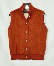 LORO PIANA Lined Quilted Vest Women's L Size Red Orange 100% Cashmere Jacket