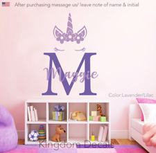 Custom Unicorn Nursery Children Wall Decal Sticker Initial Kid Baby Name Decor