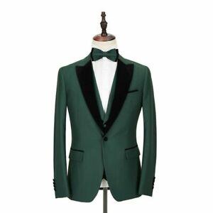 Green Men Suit Business Peak Lapel Prom Party Groom Tuxedo Wedding Suit L/42R