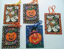 """Lot of 5 Vintage Halloween Gift Bags 9"""" x 7"""" x 4""""."""