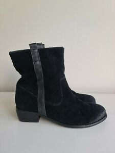 Kenji Black Suede Leather Boots Sz 37 / 6
