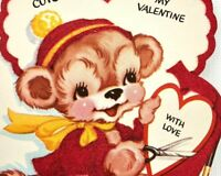 Vtg 40s 50s Valentines Card Shiny Bear Heart Making Valentine Greeting Die Cut