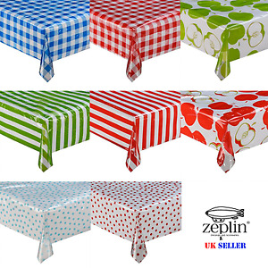 TRANSPARENT PVC POLKA APPLE STRIPE WIPE TABLECLOTH PROTECTOR VINLY TABLE COVER