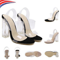 New Women Summer Transparent Clear Stiletto High Heel Laides Pumps Sandals Shoes