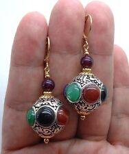 Pretty Handmade Nepal Beads & Ruby Red Jade Gold Earrings -- Leverbacks A0918
