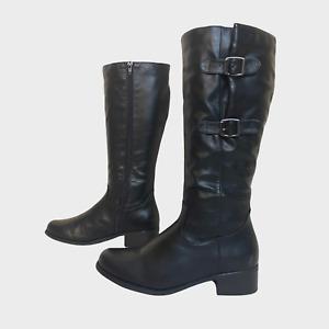 PAVERS Ladies Womens Boots Size UK 6 Eu 39 Black Faux Fur Lined Knee Boots