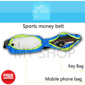 Running Racing Sports Money Belt Waist Bag Elastic Belly--Double Zippers