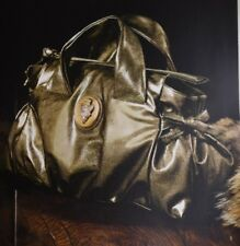 NEW GUCCI Tom Ford ERA Olive Green Patent HYSTERIA Gold Medallion TOTE BAG