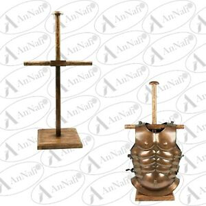 Handmade Armor Breastplate & Helmet Wooden Display Stand for Medieval Costumes