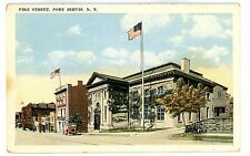 Port Jervis NY - VIEW DOWN PIKE STREET FROM LIBRARY - Postcard