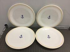 "NEW Set of 4 PROUNA Jewelry China Marine Blue 10-7/8"" round Dinner Plate Plates"