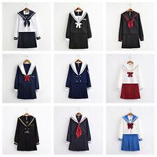 Women School Girl Sailor Uniform Set JK Long Sleeve Blouse Skirt Cosplay Costume
