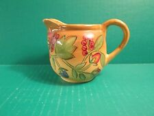 Laurie Gates Hand Painted Creamer With Fruits & Berries - Gold Color Background