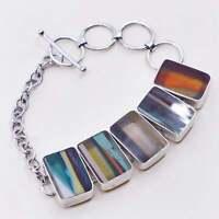 """6+1.5"""", vtg 925 Sterling silver handmade bracelet w/ artisan glass discs"""