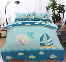 Cute Whale Boat 3D Printing Duvet Quilt Doona Covers Pillow Case Bedding Sets