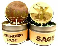 Combo Lavender and Lavender and Sage Set of Two 4oz Soy Tin Candles
