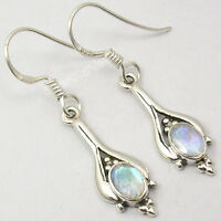 "925 Solid Silver RAINBOW MOONSTONE Sparkling Stylish Earrings 1.4"" Handmade"