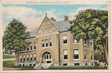 Memorial Library Winsted Ct Postcard 1939