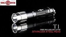 Solarforce T1 Cree XM-L U2 LED Stainless Steel Head w/Pocket Clip Flashlight
