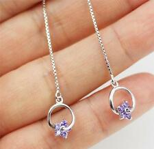 Threader/ Pull Through Solid 925 Sterling Silver Purple Amethyst Dangle Earrings