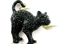 SIGNED SWAROVSKI CRYSTAL HALLOWEEN BLACK CAT PIN~BROOCH RETIRED RARE NEW SALE!!!