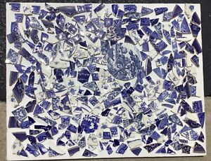 Broken HAND CUT Antique China Plate Tiles for Mosaics BLUE & WHITE MIX Lot 2of2