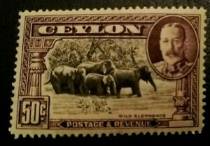 CEYLON 1935-36 Wild Elephants, MH, mint very lightly hinged, Sri Lanka ANIMALS