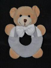 Peluche doudou ours beige JOLLYBABY Priscilla Larsen gris blanc grelot TTBE