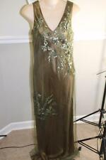 Sue Wong olive green beaded sequin long evening dress GOWN size 8 (dr8800