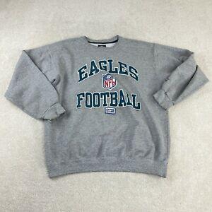 Vintage 90s Starter Eagles Football NFL Sweatshirt Gray Crew Neck Made in USA