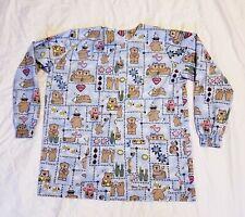 UK Quality Uniform Women's Size Small Scrub Jacket Teddy Bear Print Warm Up