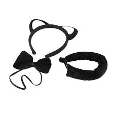 Plush Cat Set Ears on Headband, Tail and Bow Tie Set Party Accessory Black