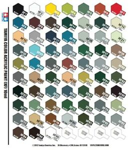 Tamiya Colour Acylic paint Mini X 10ml gloss and XF 10mmfinish