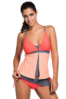 Women Sexy Swimsuit Orange Pink Colorblock Tankini Skort Bottom Swimwear