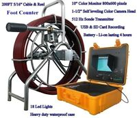 "Sewer Drain Pipe 10"" LCD 1-1/2"" Self Leveling Camera 200FT Cable USB 512HZ Sonde"