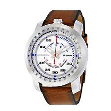 Diesel Rig Mens Quartz Watch DZ1749 Leather Band Silver Tone NIB