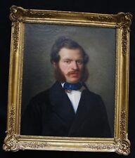"""Magnifique école Française du XIX e siècle  """"portrait d'homme aux favoris """""""