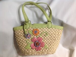 BRIGHTON Straw & Lime Green Leather Handle Purse, NWOT