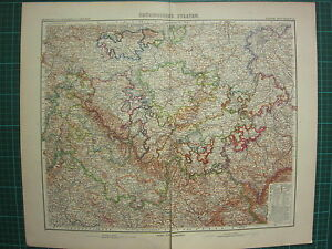 1907 DATED MAP ~ THURINGISCHE STAATEN GERMANY SHOWING POLITICAL DIVISION