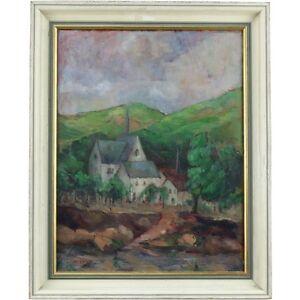 Framed Original Retro Rural Village Impasto Landscape Oil Painting Signed Brown