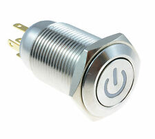 Red Angel Eye METALLO LED di alimentazione ad aggancio 16mm PUSH BUTTON SWITCH SPST 12V