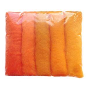 Carded Roving 100% Wool needle/wet Felting Shade Pack Orange Tones 5+Colours 50g