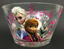 Disney Frozen Glass Bowl Set of 2 Clear Bowls Multicolor Elsa Anna Olaf 18oz