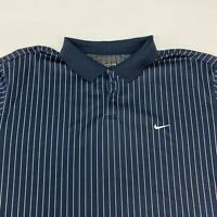Vintage Nike Polo Shirt Men's 2XL XXL Short Sleeve Navy White Striped Poly Blend
