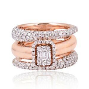 Natural 2.40 Ct. SI/HI Baguette Diamond Designer Ring 14k Rose Gold Jewelry