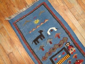 Vintage Awesome Turkish Kilim & Pile Rug 1'8''x3'2''